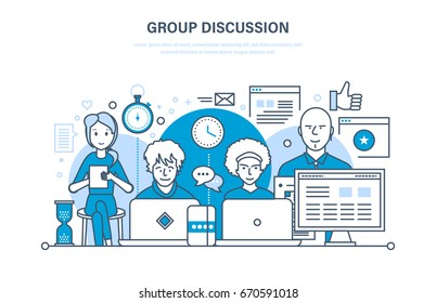 Group discussion, dialogues and communications, cooperation, teamwork, partnerships, integrated approach to discussion of issues and common issues. Illustration thin line design of vector doodles.