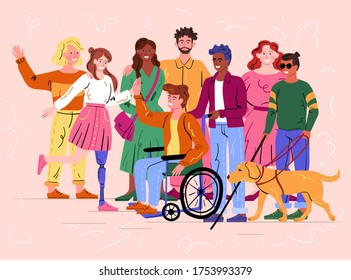 Group of diverse happy smiling disabled people and guide dog with an assortment of different handicaps on a pink background, colored vector illustration