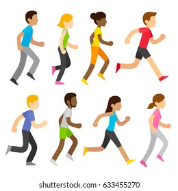Group of diverse marathon runners in modern flat cartoon style. Sports race vector people illustration set.