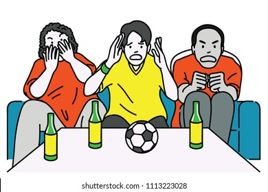 Group of diverse, multi-ethnic men, sitting on sofa, watch football match on television, cheering with excited expression. Outline, linear, thin line art, hand drawn sketch design.