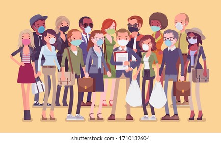 Group of diverse people in medical disposable face masks. Protection healthcare measures, sanitary, personal hygiene during virus pandemic outbreak or infection. Vector flat style cartoon illustration