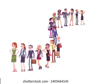 Group of diverse people queuing in a long line. Members of different nations, sex, various age and jobs standing together waiting. Vector flat style cartoon illustration isolated on white background