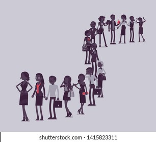 Group of diverse people queuing in a long line. Members of different nations, sex, various age and jobs standing together waiting. Vector illustration with faceless characters