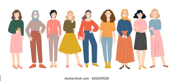Group of diverse people standing together vector flat illustration. Happy diversity people characters.