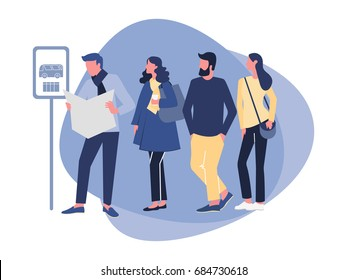 Group of diverse people waiting for the bus while standing at the bus stop in the morning. Vector illustration