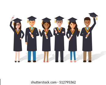 Group of diverse school, college and university graduation students and scholars. Flat design people characters.