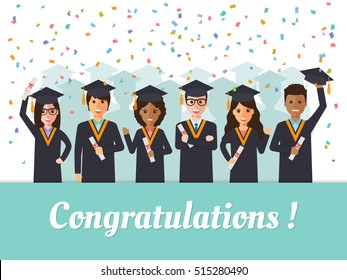 "Group of diverse school, college and university graduation students and scholars in graduation celebration with confetti and ""Congratulations"" poster. Flat design people characters."