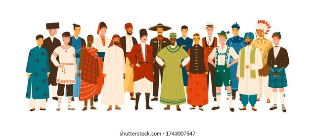 Group of diverse smiling man wearing in folk costumes of various countries vector flat illustration. Happy multinational male people standing in ethnic clothing isolated on white background