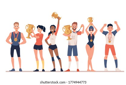 Group of diverse sportive people men and women cartoon characters holding award cups, flat vector illustration isolated on white background. Sport competition winners.