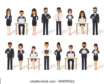 Group of diverse working people on white background. Businessman and businesswoman using laptop, tablet and smartphone in flat design people characters.