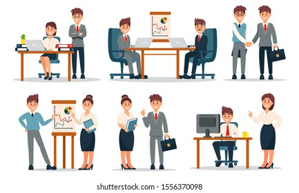 Group of Diverse Working People Vector Illustrated Set