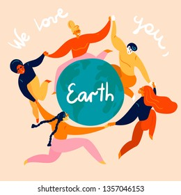 Group of diverse young women and man  is dancing around the  Earth globe. They are celebrating Happy Earth Day, holding hands. Eco and environment friendly ecological concept. Flat vector illustration