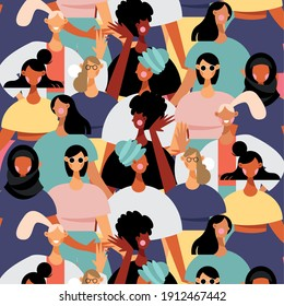 group of diversity women characters pattern vector illustration design