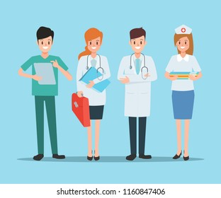 group of doctor character in hospital design. healthcare medical people.