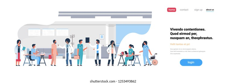 group doctors hospital communication making scientific experiments diverse medical workers modern clinic interior flat copy space banner
