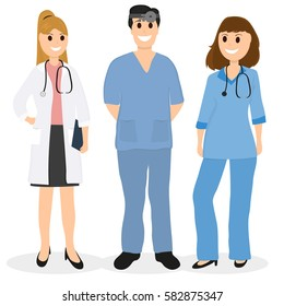 Group of doctors in a hospital, flat design, vector