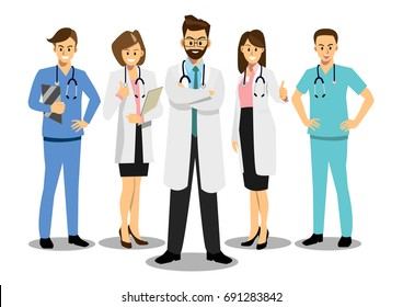 Group of doctors in a hospital, medical team concept in cartoon flat-style vector illustration.