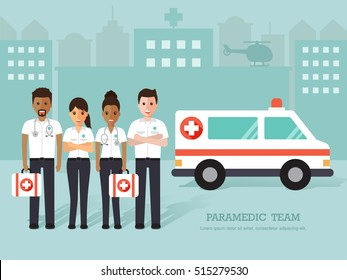 Group of doctors, man and woman paramedics, medical staff standing in front of hospital with ambulance. Flat design people characters.