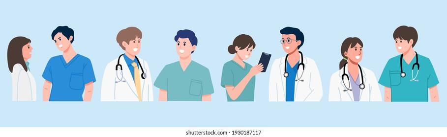 Group of doctors, medical staff standing and talking on blue background, Doctor teamwork banner. vector illustration flat design