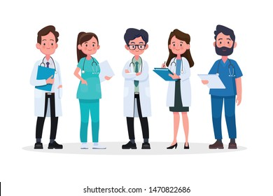 Group of doctors and medical staff. Medical team concept in flat design people character.