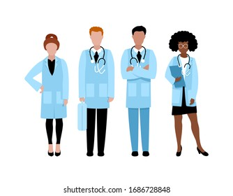 Group of doctors. Men and women in medical coats. People in hospital. Flat vector illustration.