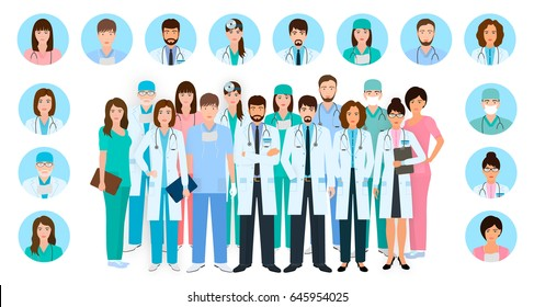 Group of doctors and nurses characters in different poses with vector profile avatars. Medical people design. Hospital staff. Flat style vector illustration.