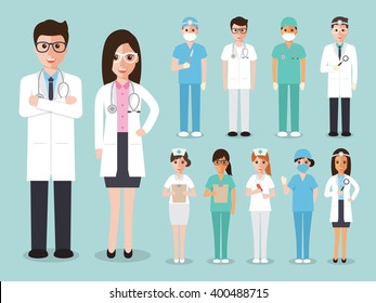 Group of doctors and nurses and medical staff. Medical team concept in flat design people character.
