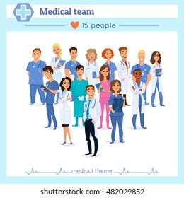 Group of doctors, nurses and medical staff people, isolated on white background. Different nationalities. Cute flat cartoon style. Hospital medical team concept.People character set in various poses.