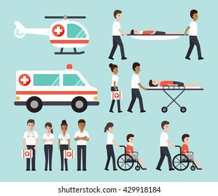 Group of doctors, nurses, paramedics and medical staff. Flat design people character set.
