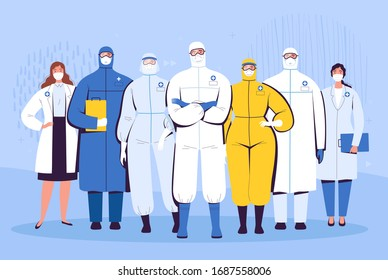 A group of doctors in protective suits, glasses and medical masks are standing next to each other. The concept of the struggle of medical personnel with the new coronavirus COVID-2019
