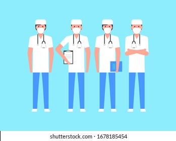 Group doctors. Doctors set. Medical concept illustration. isolated on blue background