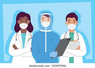 group of doctors staff wearing medical masks characters vector illustration design