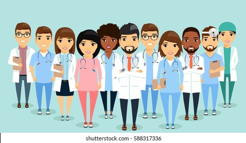 A group of doctors standing side by side. Teamwork. The medical director is ahead of its employees. Different specializations. Isolated flat style.