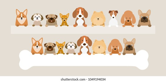 Group of Dog Breeds Holding Bone and Banner, Front View, Pet, Background