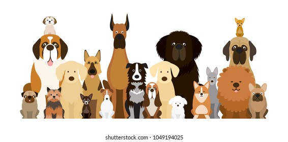 Group of Dog Breeds Illustration, Various Size, Front View, Pet