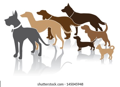 Group of dogs looks at your message. EPS 10 vector, grouped for easy editing. No open shape or paths.