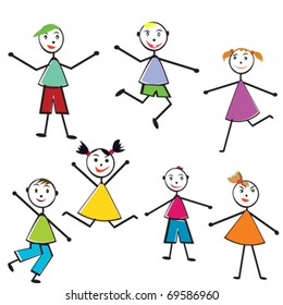 Group of doodle children having fun