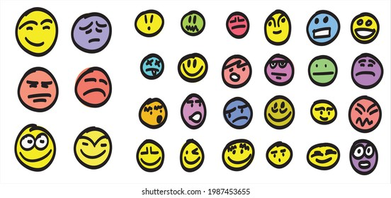 Group of doodle faces with emotion expressions on white background.