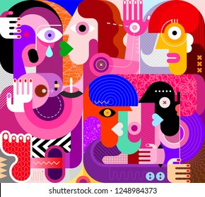 Group of drunk people vector illustration. Modern abstract fine art painting. Weeping woman with her friend.