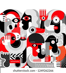 Group of drunk people vector illustration. Modern abstract fine art painting. Red, black and grey.