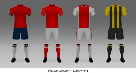 Group E of Champions League. Set of 3D realistic template soccer jersey Bayern, Benfica, Ajax, AEK. t-shirt with pants and socks on shop backdrop. Mockup of football team uniform