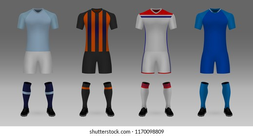 Group E of Champions League. Set of 3D realistic template soccer jersey Manchester City, Shakhtar, Lyon, Hoffenheim. t-shirt with pants and socks on shop backdrop. Mockup of football team uniform