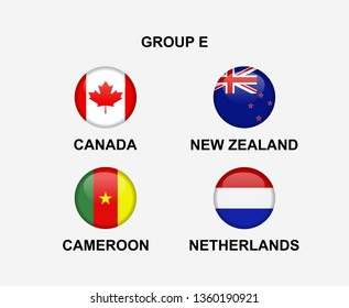 group E of nation flag in badge icon. Concept for team that qualified to final round of women soccer or sport tournament. Vector illustrative