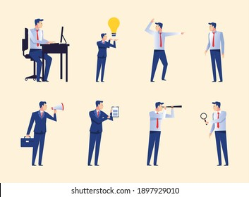 group of eight businessmen workers avatars characters vector illustration design