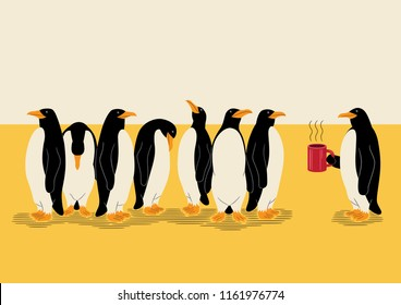 A group of eight penguins one of whom holds a cup of coffee.