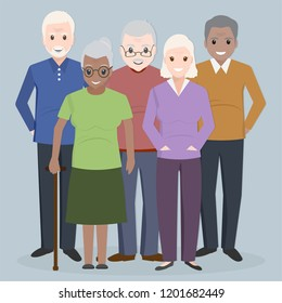 Group of elder people icon. Grandparents icon illustration
