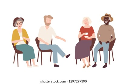 Group of elderly men and women sitting on chairs, drinking tea, talking to each other and laughing. Old retired people spending time together. Colorful vector illustration in flat cartoon style.