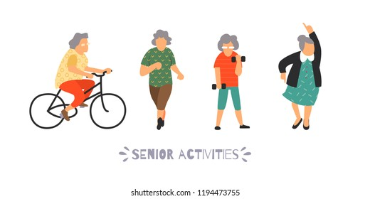 Group of elderly people go in for sports. Senior outdoor activities set. Recreation and leisure elderly persons concept. Flat vector illustration