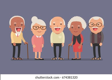Group of elderly people stand together on background. Vector illustration in creative flat vector character design