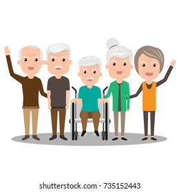 Group of elderly people stand together. Health Cartoon Vector illustration. Old Senior people concept. grandfather and grandmother.